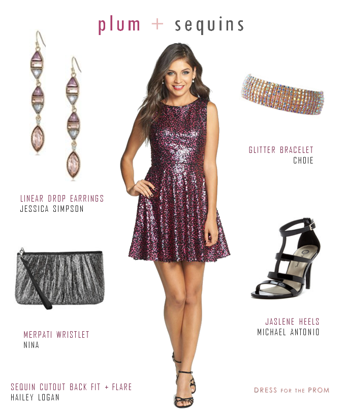 Sequined homecoming dress with black and purple sequins