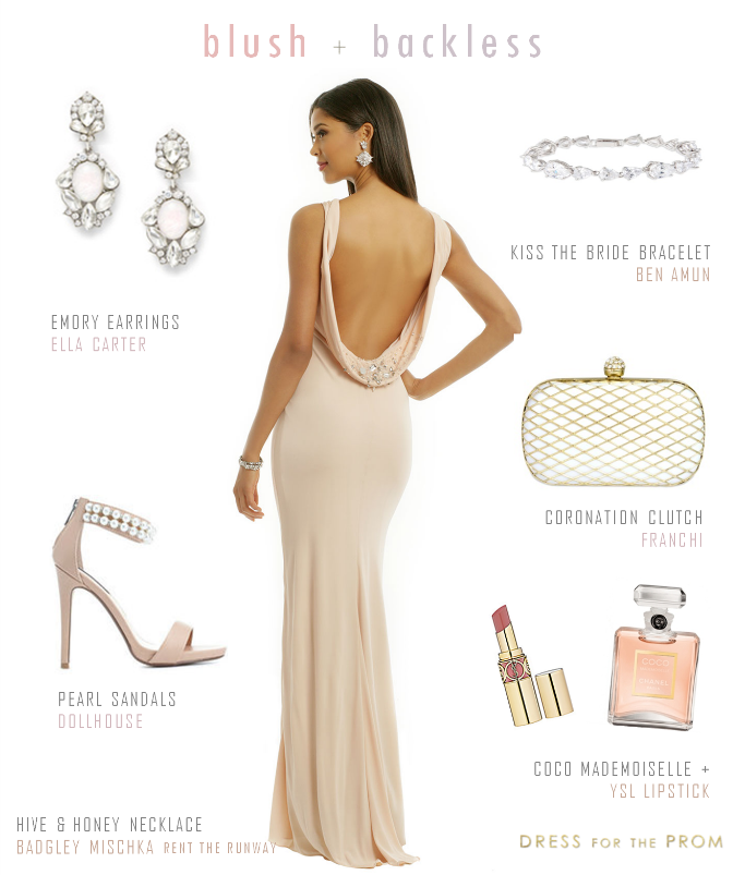 Blush cowl back gown